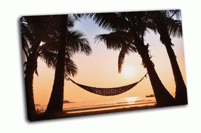 Картина гамак и пальмы на пляже