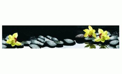 Картина желтая орхидея на камнях