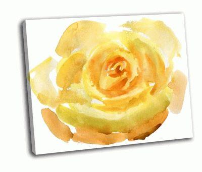 Картина желтая роза крупным планом