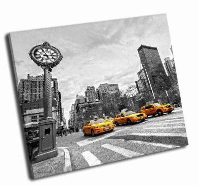 Картина желтое такси  в нью-йорке