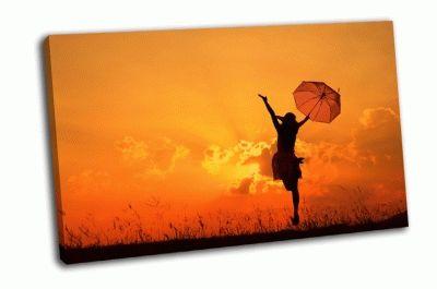Картина женщина с зонтом