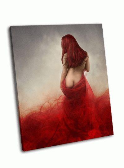 Картина женщина в красном