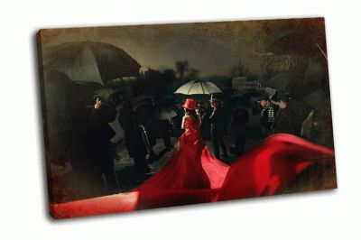 Картина женщина  в красном платье