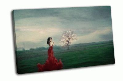 Картина женщина  в красном платье  в фантазии