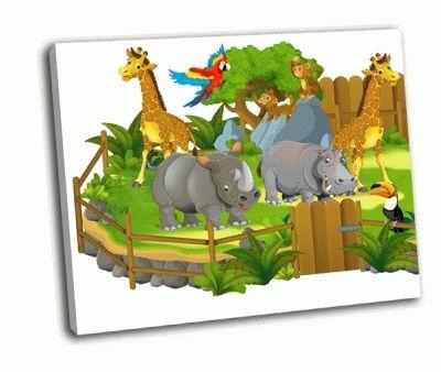 Картина жираф, носорог, бегемот