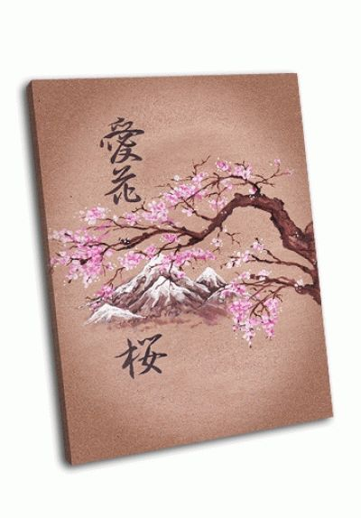 Картина живопись в японском стиле, сакура