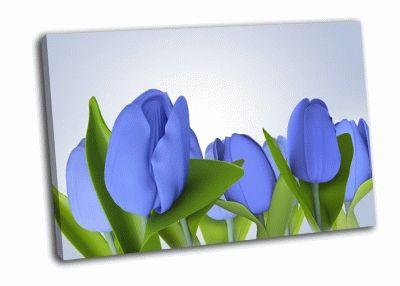 Картина голубой цветок тюлпана в 3d