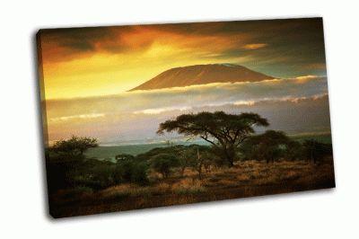 Картина гора килиманджаро и облака на закате