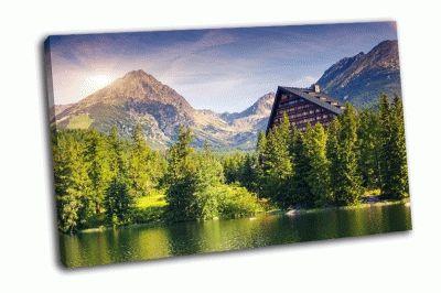 Картина горное озеро в парке, высокие татры