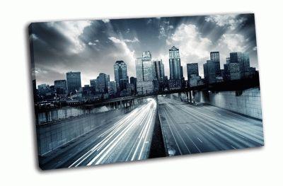 Картина городской пейзаж с голубым оттенком