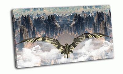 Картина горы и дракон