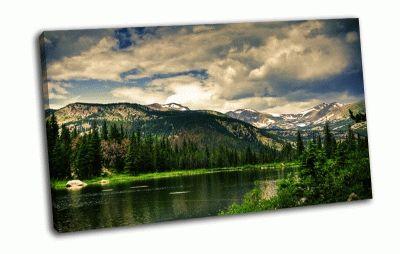 Картина горы и озеро