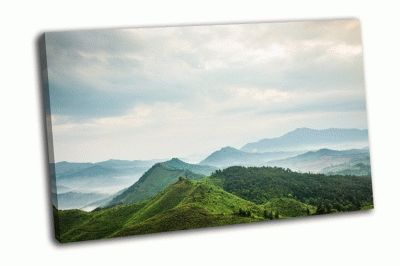 Картина горы  в тумане города фучжоу