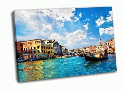 Картина гранд-канал с гондолами в италии