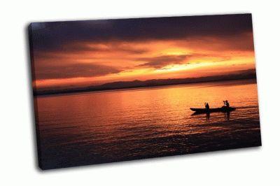 Картина гребец на закате