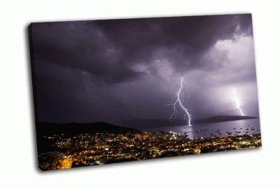 Картина гроза с молниями над городом бодрум