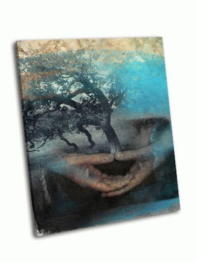 Картина изображения рук в медитации с деревом