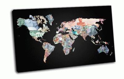 Картина карта мира, континенты, валюта, страны
