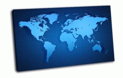Картина карта мира, сетка