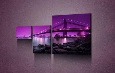 Картина картина из трех частей. мост в сиреневом