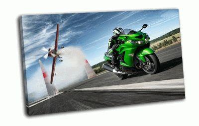 Картина кawasaki гонщик на скорости