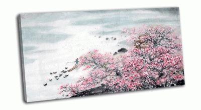 Картина китайский пейзаж-цветение дерева и рыбак