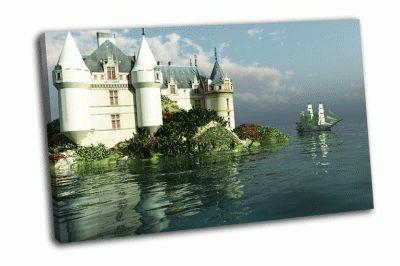 Картина клипер-корабль возле замка