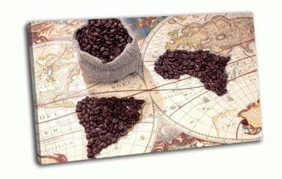 Картина кофе, карта, зерна
