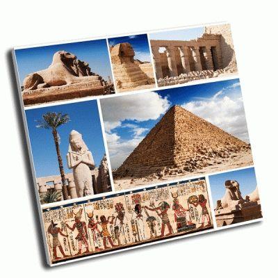 Картина коллаж сфинкс и пирамиды, египет