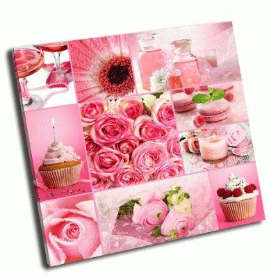 Картина коллаж в розовых тонах