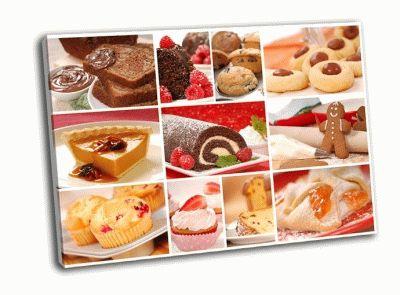 Картина коллаж-вкусная выпечка, десерты