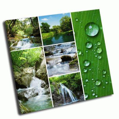 Картина коллаж-водопад и река