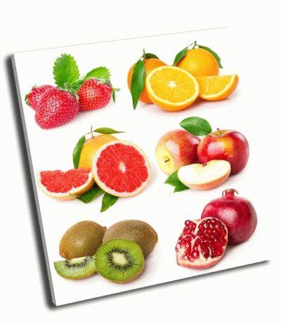 Картина коллекция свежих фруктов