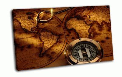 Картина компас, карта, compass, antique, map