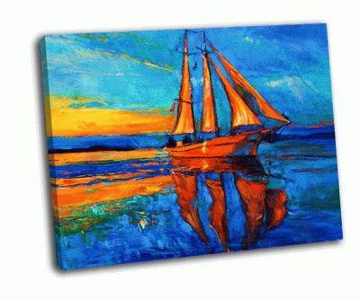 Картина корабль и море на холсте