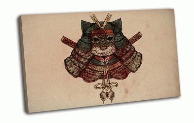 Картина кот-самурай