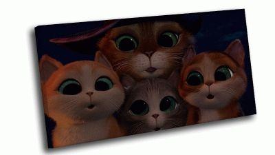 Картина кот в сапогах и котята