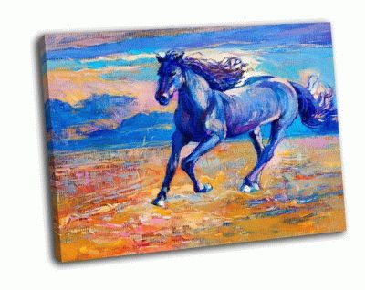 Картина красивая синяя лошадь