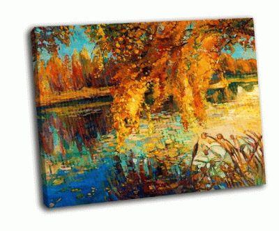 Картина красивое озеро в осеннем лесу