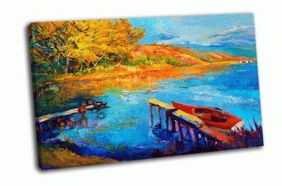 Картина красивое озеро, закат