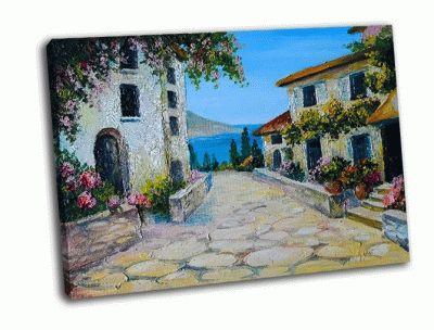 Картина красивые дома возле моря