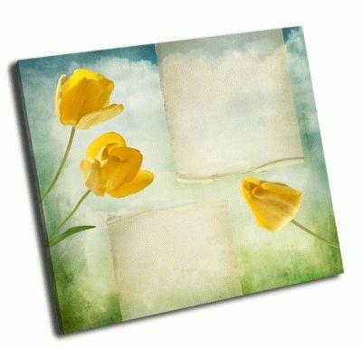 Картина красивый  фон с желтыми тюльпанами