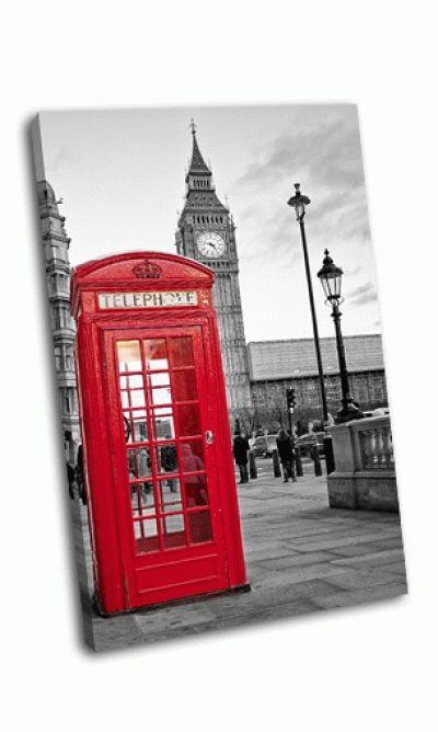 Картина красная будка в лондане