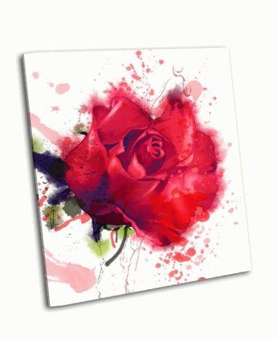 Картина красная роза, акварель