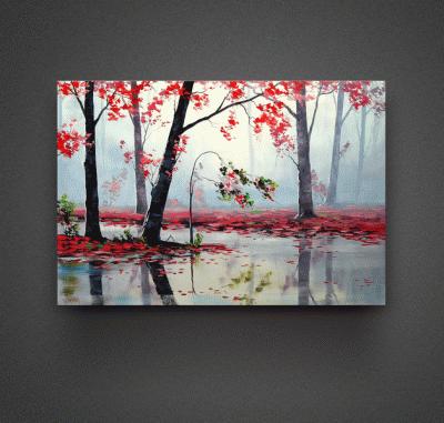 Картина красные листья на воде