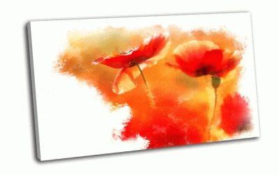 Картина красные маки на белом фоне, акварель