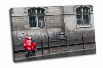 Картина красный скутер в париже