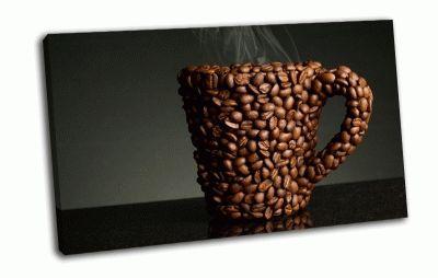 Картина кружка из кофейных зерен