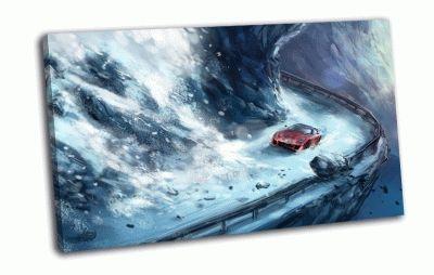 Картина лавина снега и красная машина