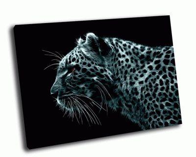 Картина леопард на черном фоне